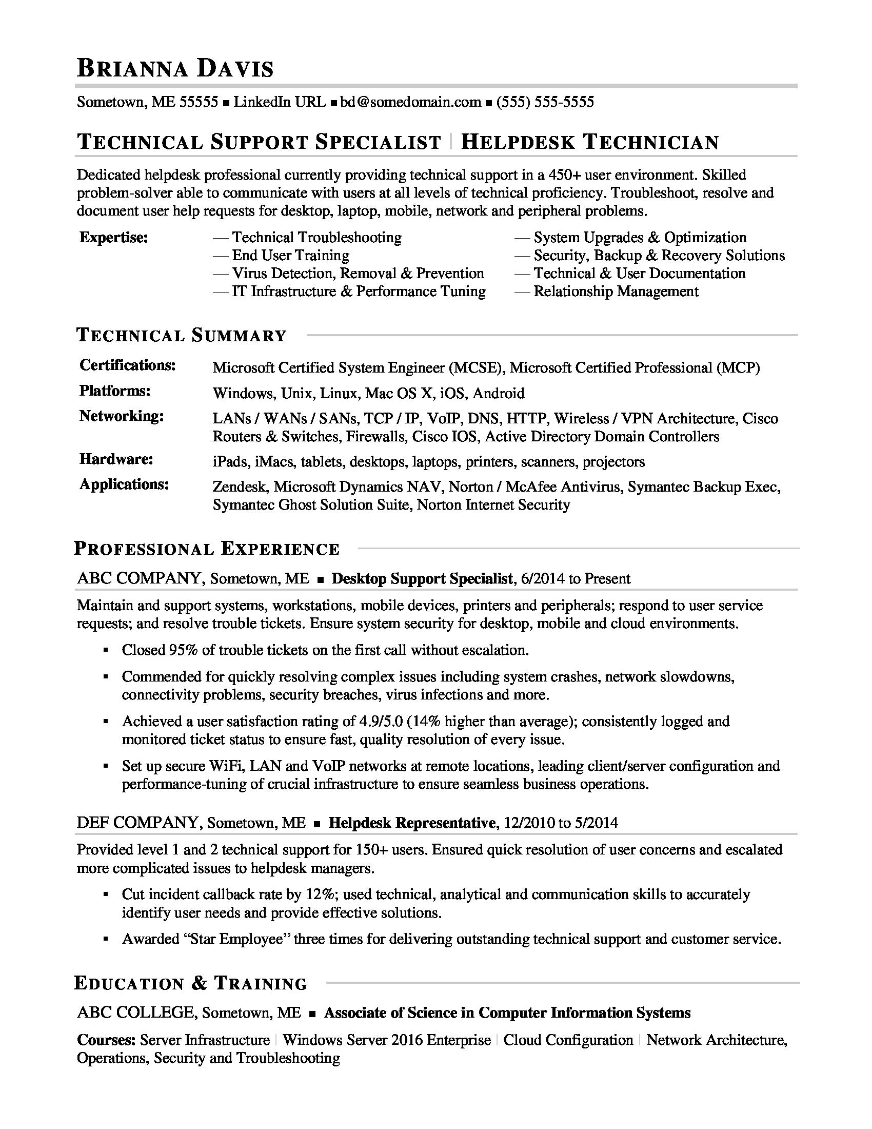 sample resume for experienced it help desk employee monster technical support samples Resume Technical Support Resume Samples