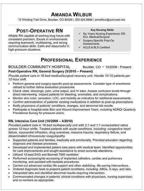 sample resume for post op nurse rn nursing examples medical surgical executive assistant Resume Medical Surgical Nurse Resume