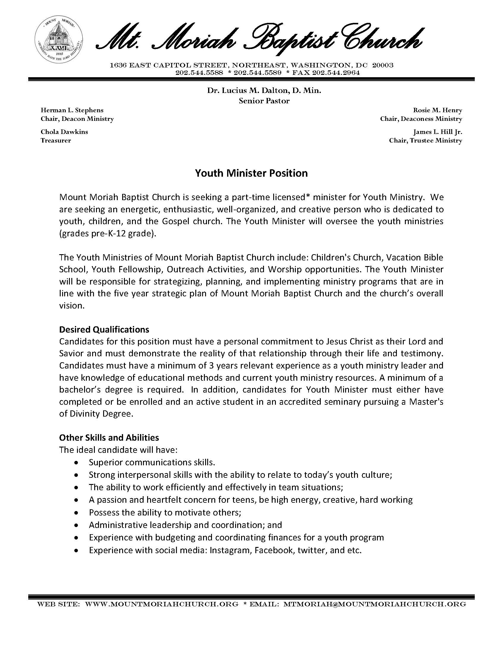 sample resume for youth leader ministry examples mmbc minister position description Resume Ministry Resume Examples