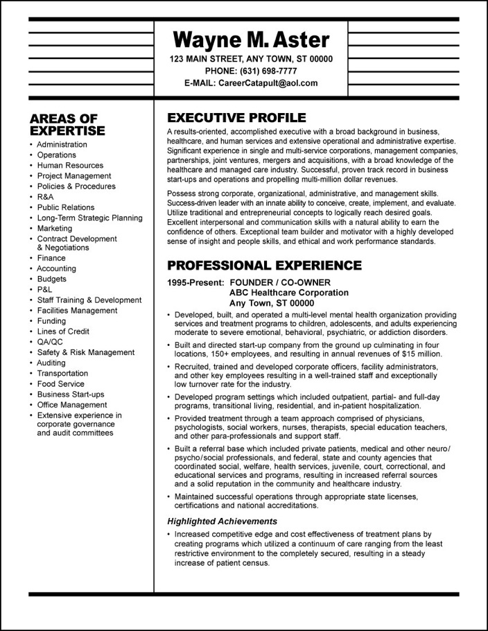 sample resume healthcare executive professional medical writers exec builder for veterans Resume Professional Medical Resume Writers