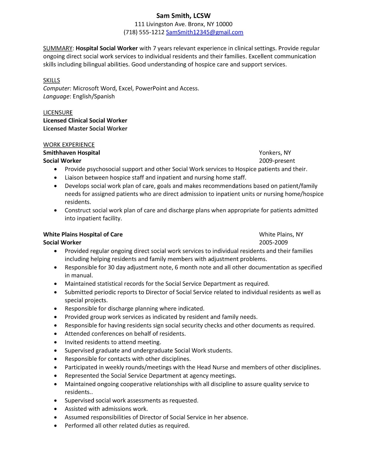 sample resume hospital social worker career advice pro wrestling business for job Resume Resume For Hospital Job