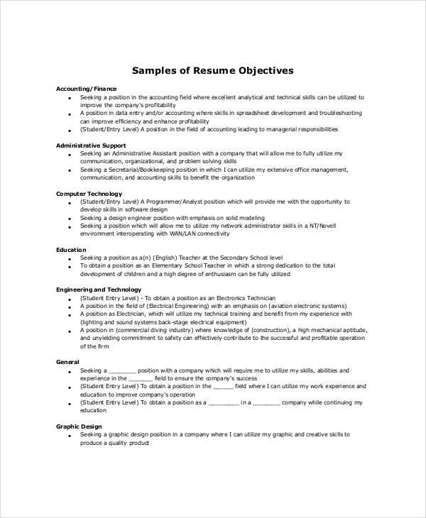 sample resume objectives pdf free premium templates basic objective for accounting scuba Resume Basic Objective For Resume