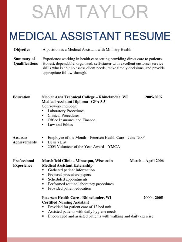 sample resumes for medical assistant awesome assis resume template job contract Resume Resume For Medical Job