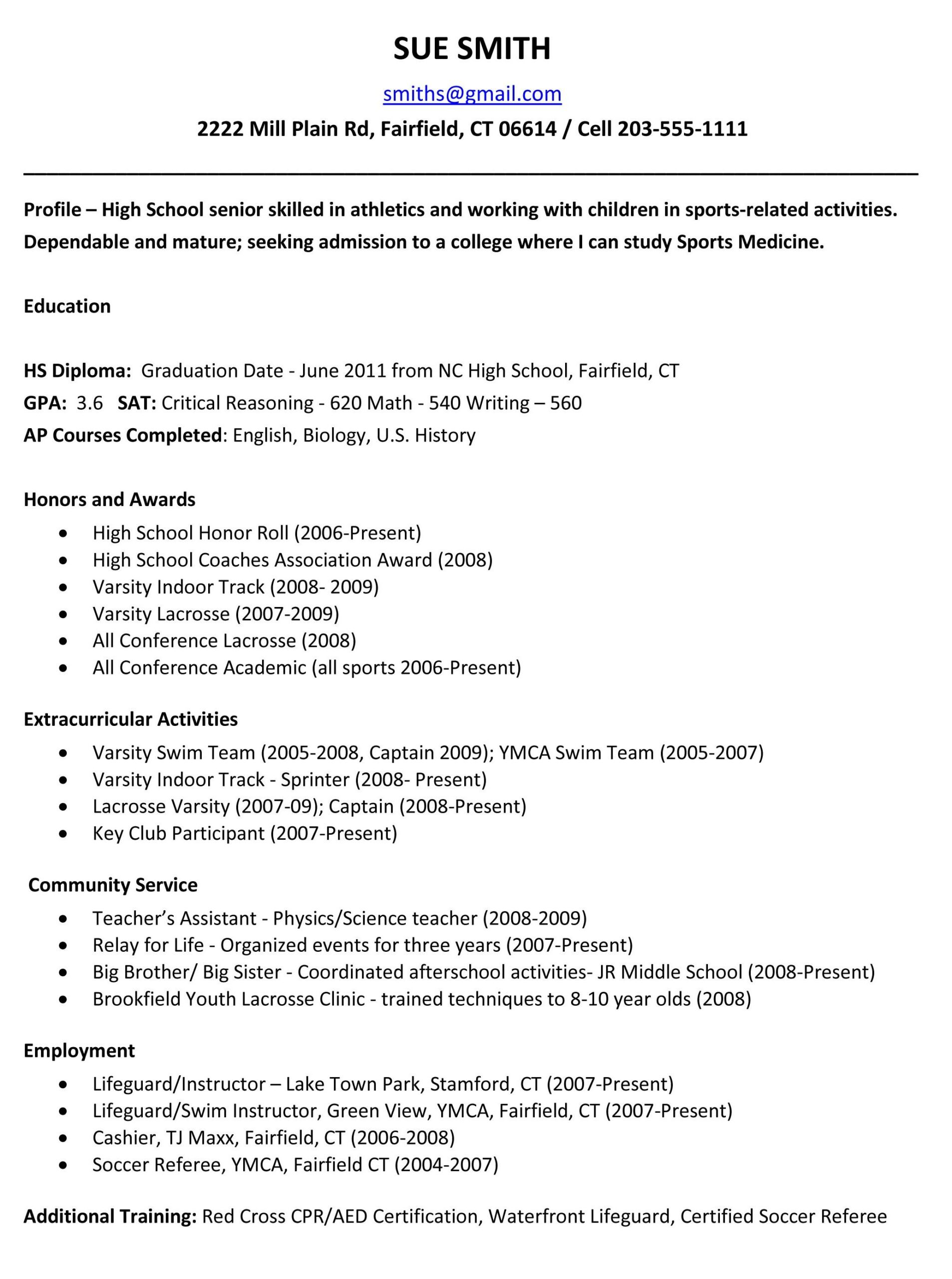 sample resumes high school resume template college application for seniors medical Resume Sample College Application Resume For High School Seniors