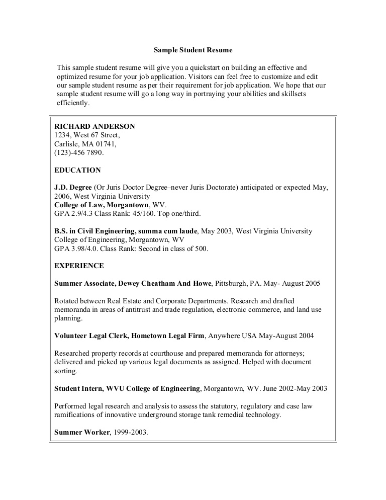 sample student resume college skills examples samplestudentresume phpapp02 thumbnail Resume College Resume Skills Examples