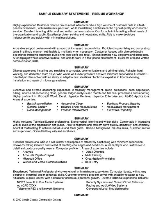 sample summary statements resume workshop free statement professional samples ability for Resume Ability Summary For Resume