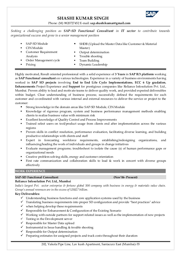 sap sd functional consultant resume phpapp02 thumbnail current trends listing employment Resume Sap C4c Functional Consultant Resume