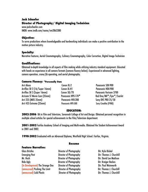 schaefer resume dp director of photography human resources assistant template now login Resume Director Of Photography Resume