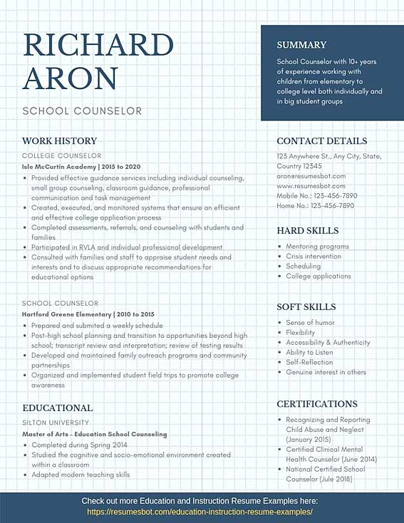 school counselor resume samples templates pdf resumes bot mental health therapist example Resume Mental Health Therapist Resume
