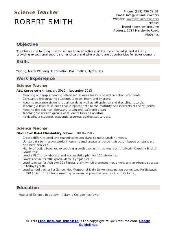 science teacher resume samples qwikresume objective examples pdf dice search quick Resume Teacher Resume Objective Examples