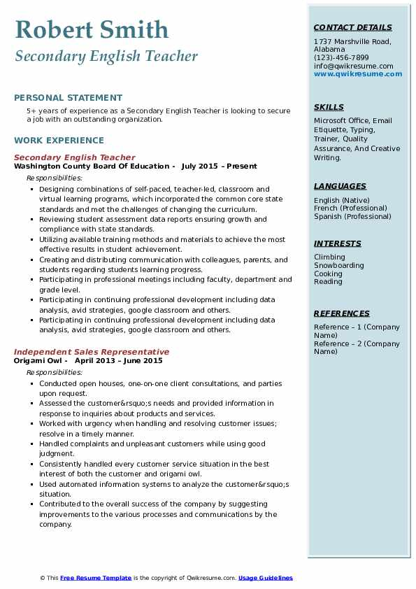 secondary english teacher resume samples qwikresume sample of for high school pdf Resume Sample Resume Of English Teacher For High School