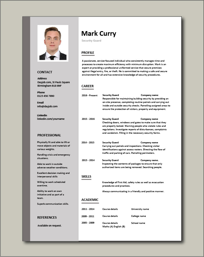 security guard cv sample free resume templates template designation on kelly services Resume Free Security Resume Templates