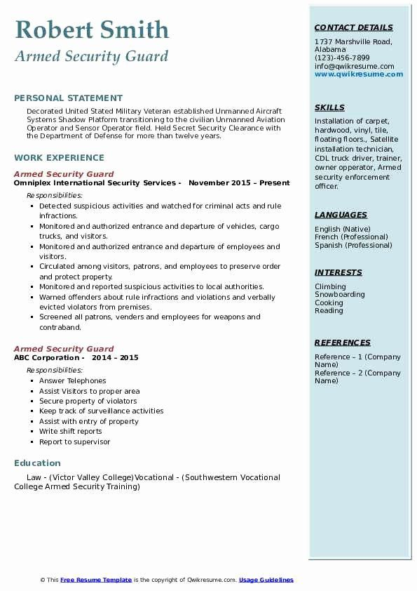 security guard resume examples lovely armed samples jobs test data management checklist Resume Armed Security Guard Resume