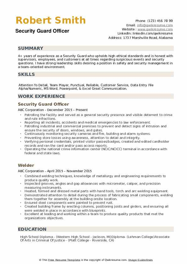 security guard resume samples qwikresume entry level objective pdf civil engineer job Resume Entry Level Security Guard Resume Objective