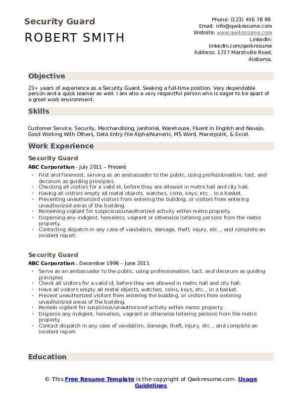 security guard resume samples qwikresume free templates pdf kelly services submission Resume Free Security Resume Templates