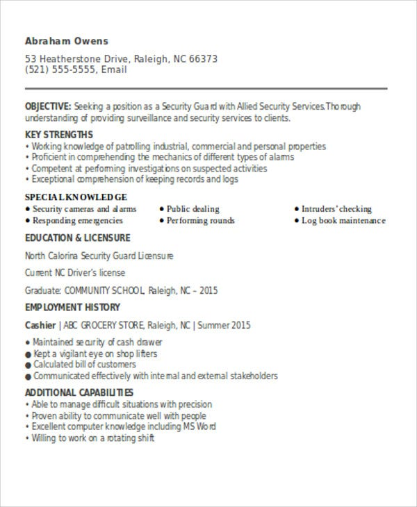 security guard resumes free word pdf format premium templates officer resume template for Resume Security Officer Resume Template