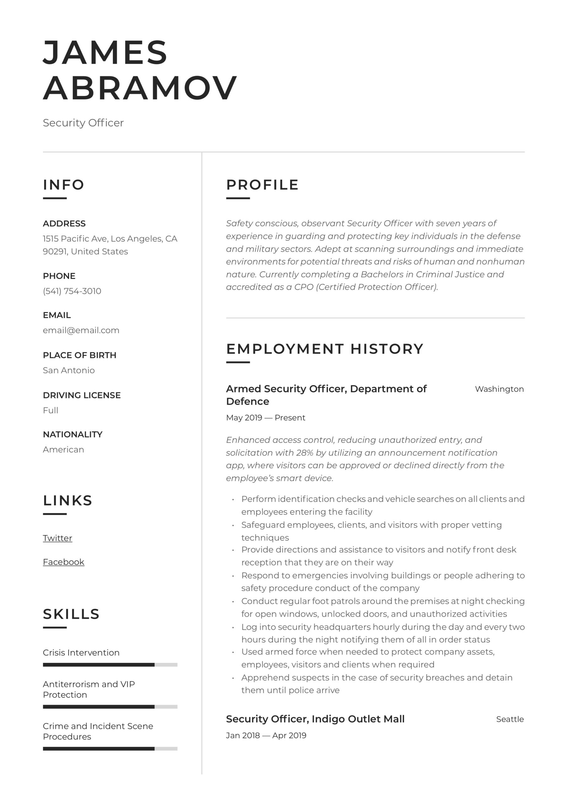 security officer resume writing guide examples template chief learning head hostess Resume Security Officer Resume Template
