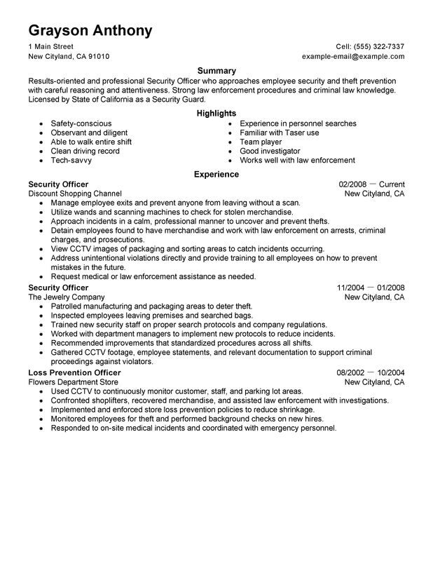 security officers resume examples free to try today myperfectresume police officer job Resume Police Officer Job Description For Resume