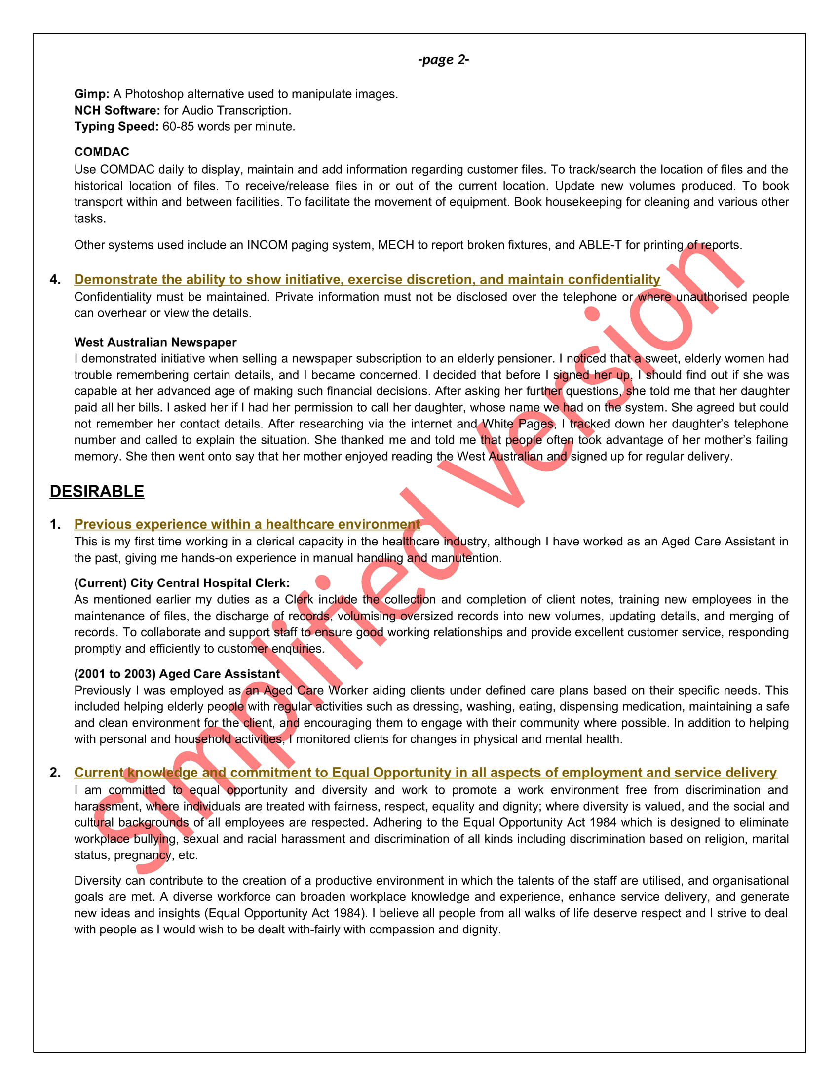 selection criteria examples keep it simple resume examples2 sv career achievements Resume Resume Selection Criteria Examples