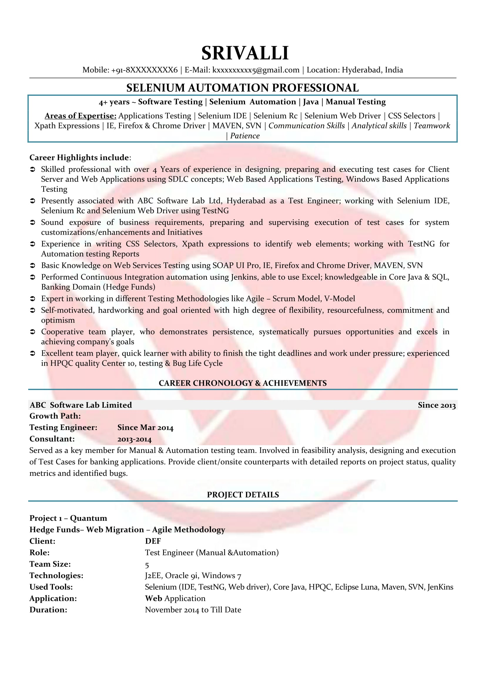 selenium sample resumes resume format templates testing for years experience ionic Resume Selenium Testing Resume For 2 Years Experience