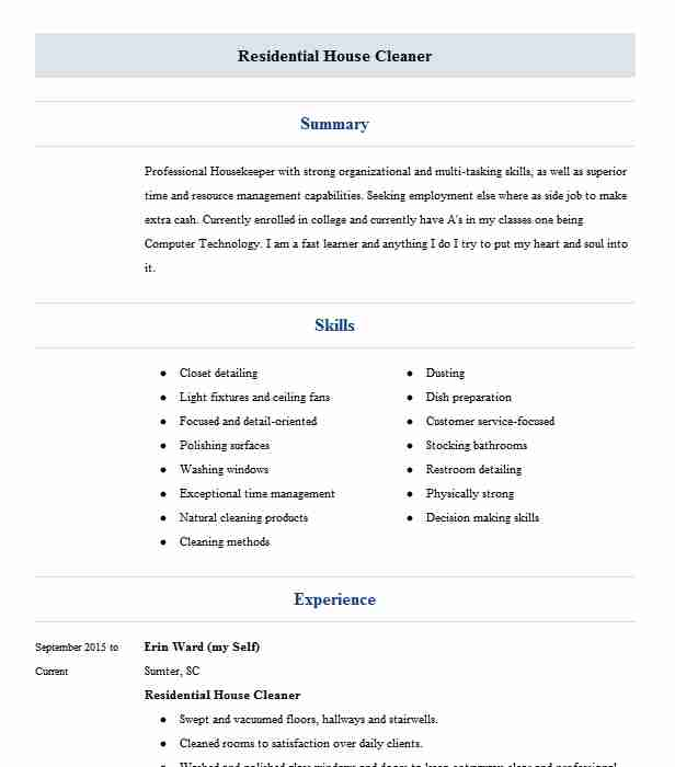 self employed house cleaner and owner resume example sherry cleaning service apopka title Resume Self Employed House Cleaner Resume