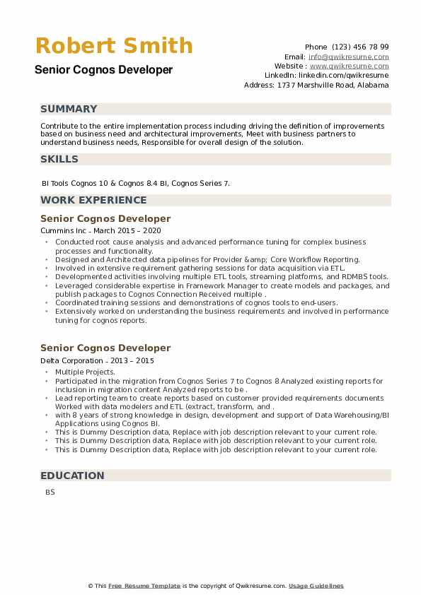 senior cognos developer resume samples qwikresume sample for report pdf cool designs high Resume Sample Resume For Cognos Report Developer