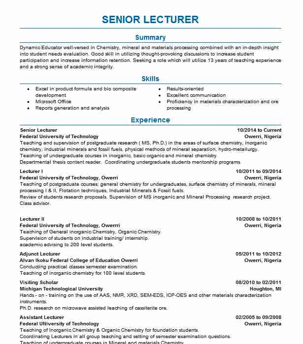 senior lecturer resume example waiariki institute of technology toronto experience Resume Lecturer Experience Resume