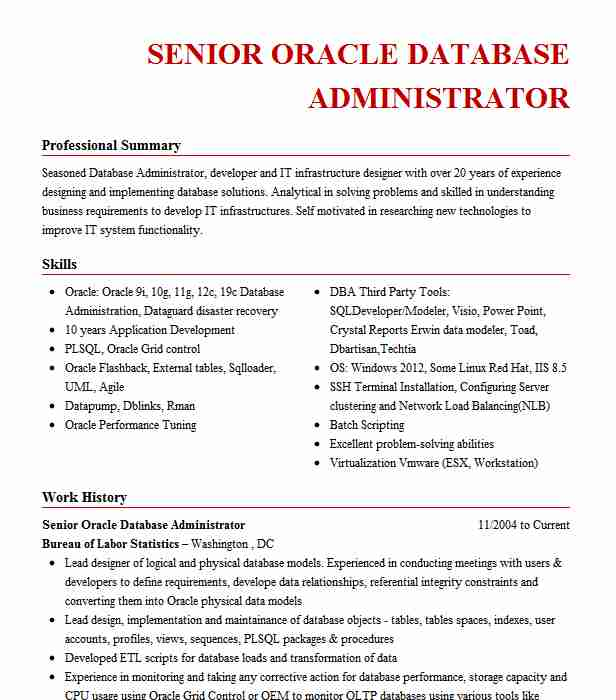 senior oracle database administrator resume example allstate insurance the colony utility Resume Oracle Database Administrator Resume