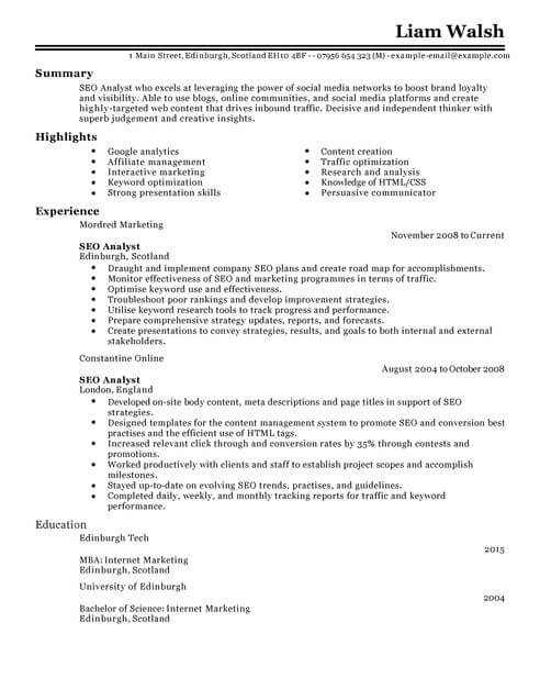 seo cv template samples examples resume search optimization marketing full middle school Resume Resume Search Optimization