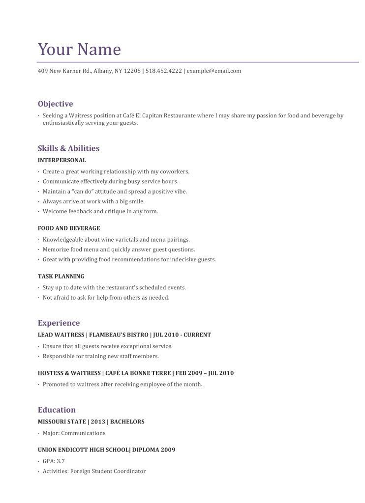 server resume objective unforgettable examples to stand out myperfectresume waiter Resume Resume For Server Job
