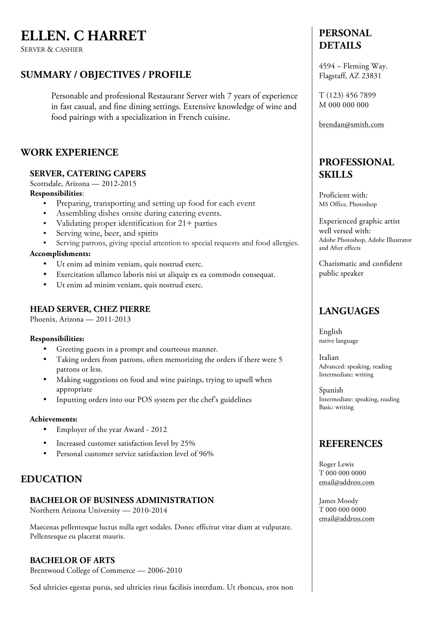 server resume writing guide examples free downloads food experience word template Resume Food Server Experience Resume