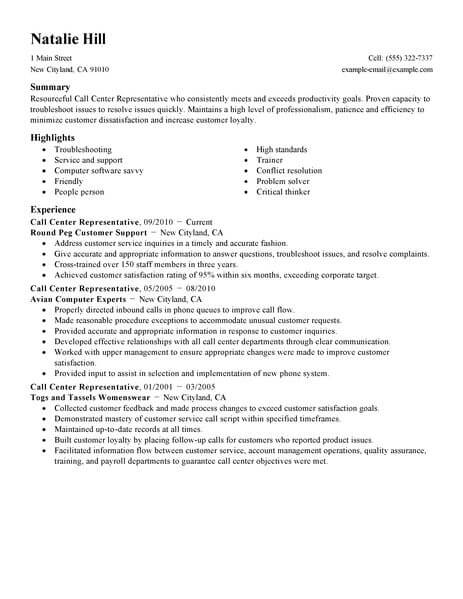 simple call center representative resume example livecareer objective examples customer Resume Call Center Resume Objective Examples