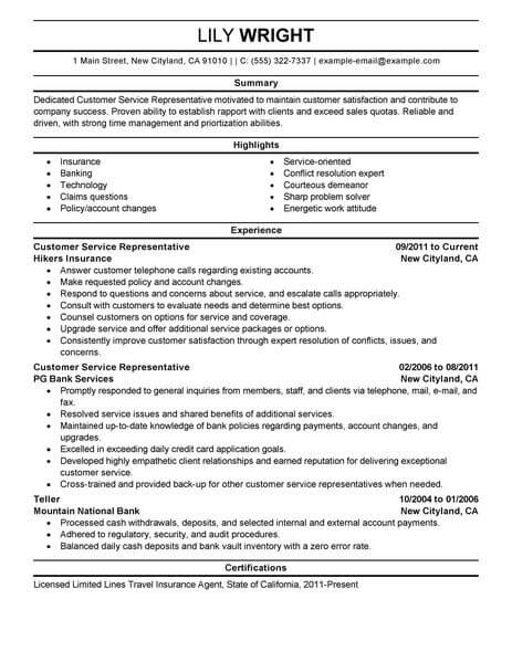 simple customer service representative resume example livecareer examples for jobs Resume Resume Examples For Customer Service Jobs