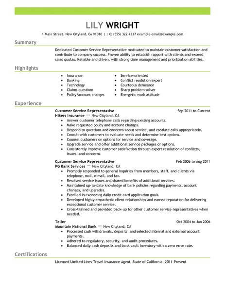 simple customer service representative resume example livecareer job description emphasis Resume Customer Service Representative Job Description Resume