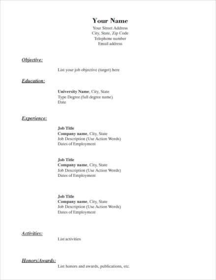 simple resume examples templates in word indesign publisher photoshop illustrator basic Resume Basic Simple Resume Sample