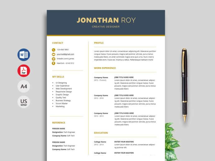 simple resume format cv template free gain truck driver word mental health worker Resume Resume Template 2020 Free