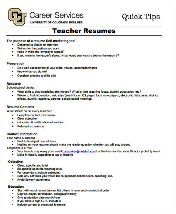 simple teacher resume templates pdf free premium for education jobs job objective Resume Resume For Education Jobs