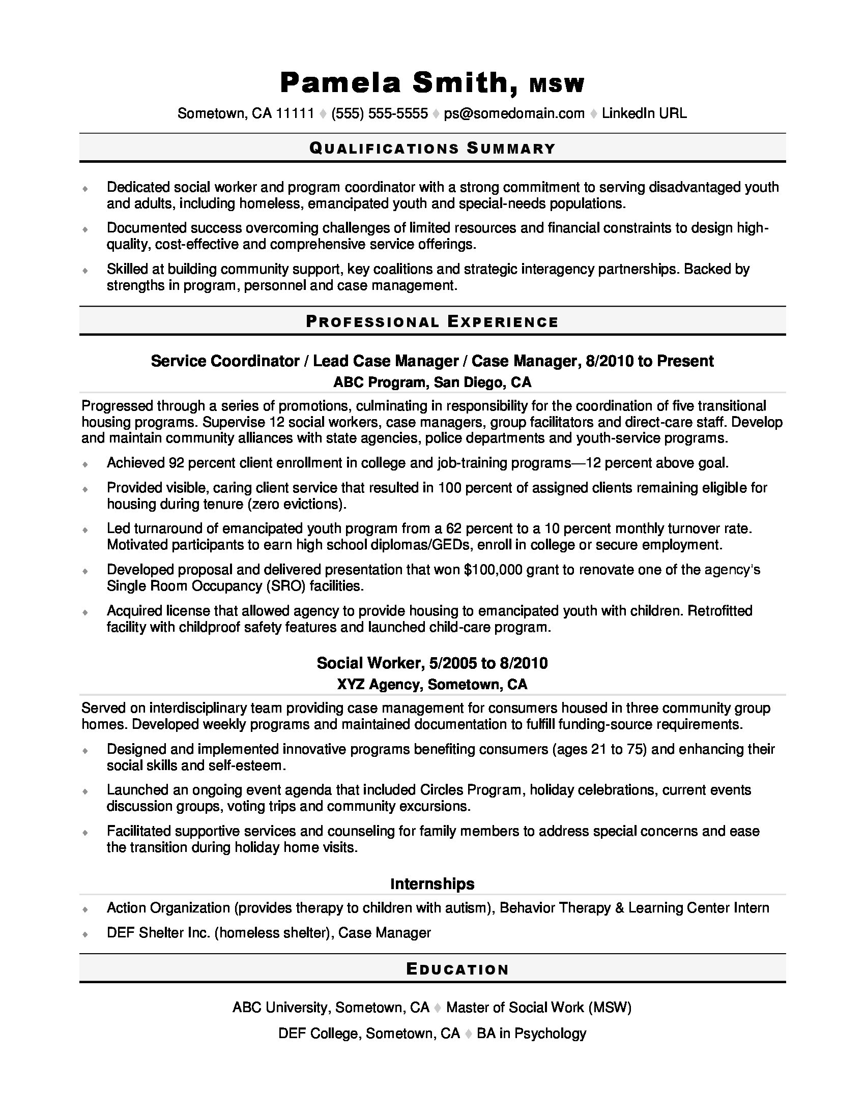 social worker resume sample monster good work examples find job without freelance Resume Good Work Resume Examples