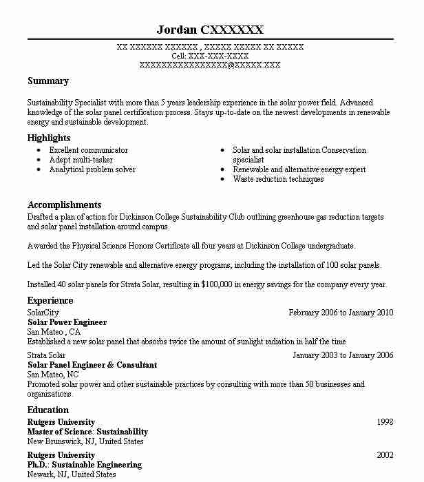solar engineer resume example engineering resumes livecareer sample for energy examples Resume Sample Resume For Energy Engineer