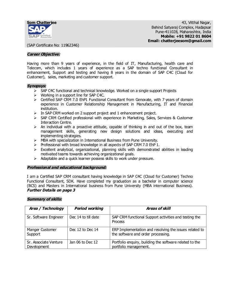 som chatterjee crm sap functional consultant resume thumbnail include on general Resume Sap C4c Functional Consultant Resume
