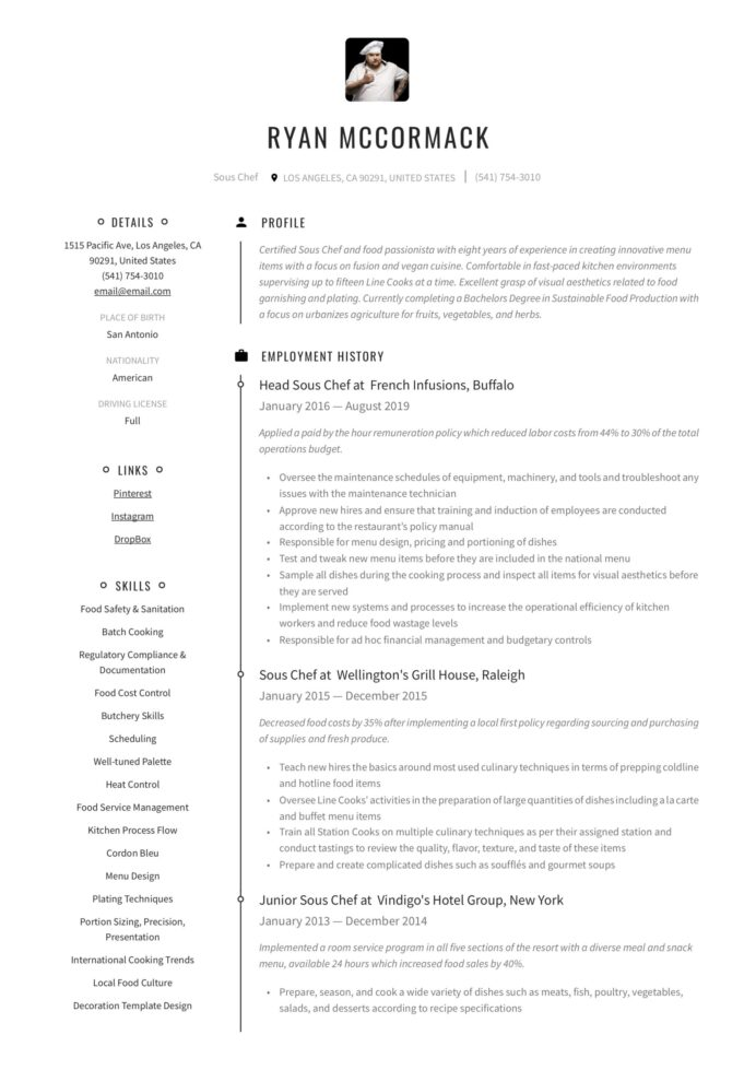 sous chef resume writing guide examples free samples substitute teacher job description Resume Sous Chef Resume Sample