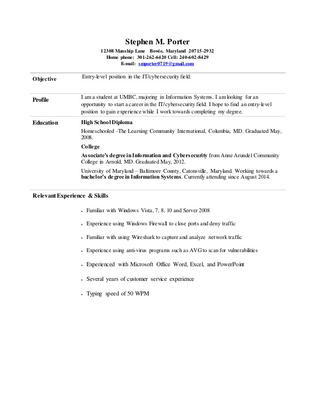 stephen entry level information cyber security resume analyst sample informationcyber Resume Entry Level Cyber Security Analyst Resume Sample