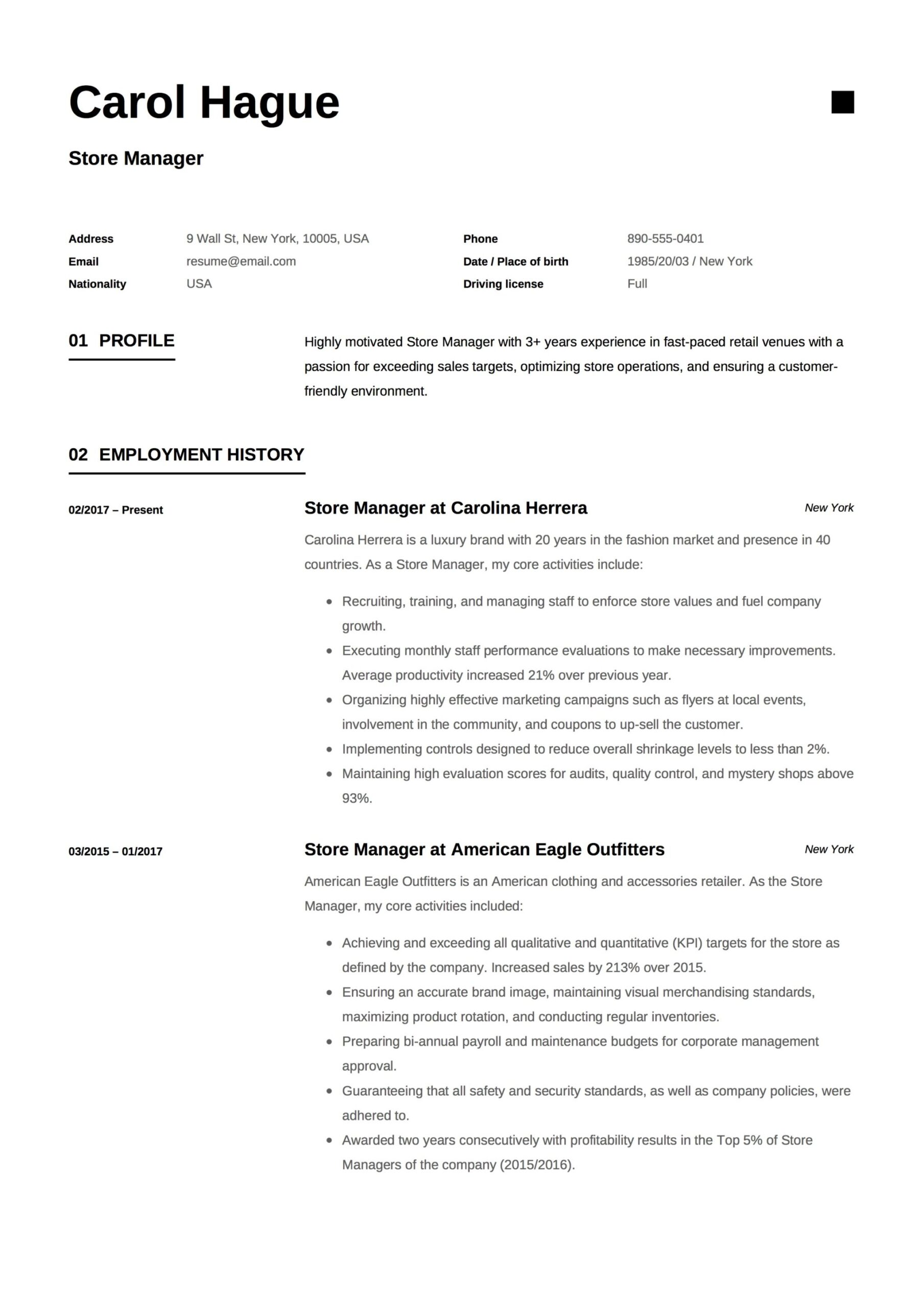 store manager resume guide samples pdf retail carol hague example for cleaning job best Resume Retail Store Manager Resume