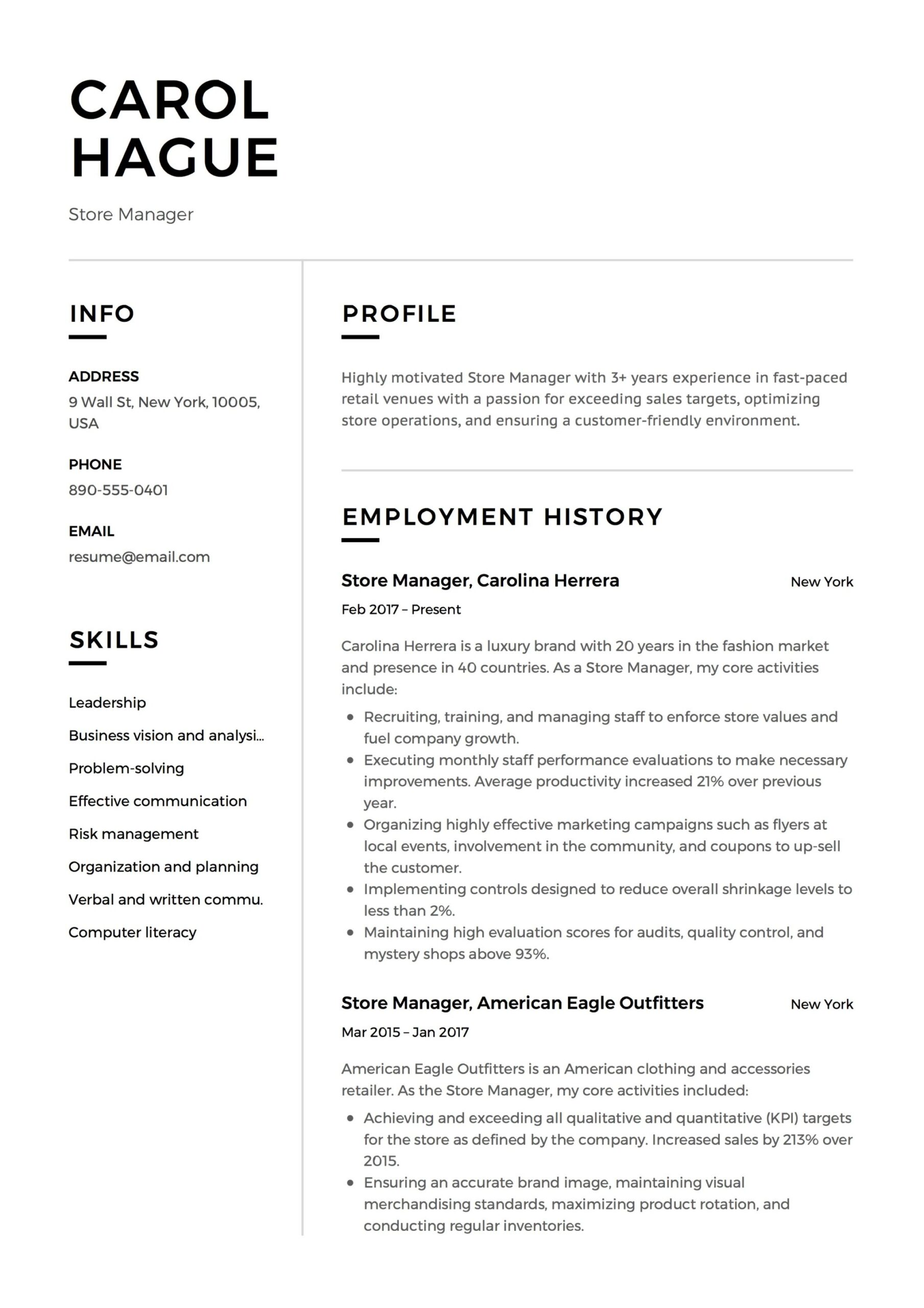 store manager resume guide samples pdf retail sample template security examples icu nurse Resume Retail Store Manager Resume