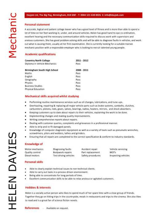 student entry level mechanic resume template diesel examples pic conducted market Resume Diesel Mechanic Resume Examples