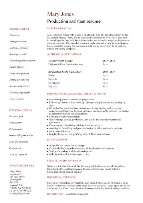 student entry level production assistant resume template article pic high school graduate Resume Article Assistant Resume
