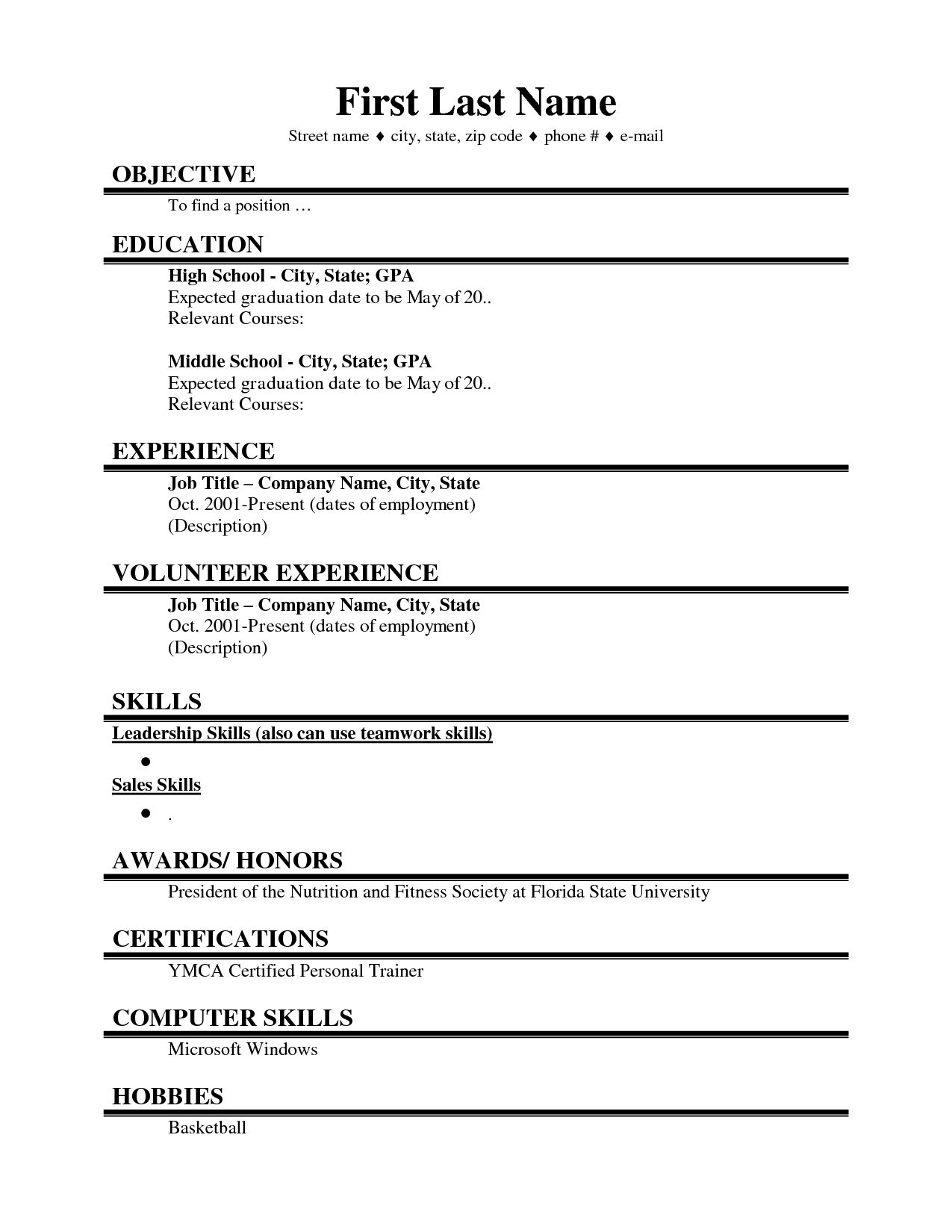 student first job resume templates layout module lead heavy equipment mechanic examples Resume First Job Resume Layout