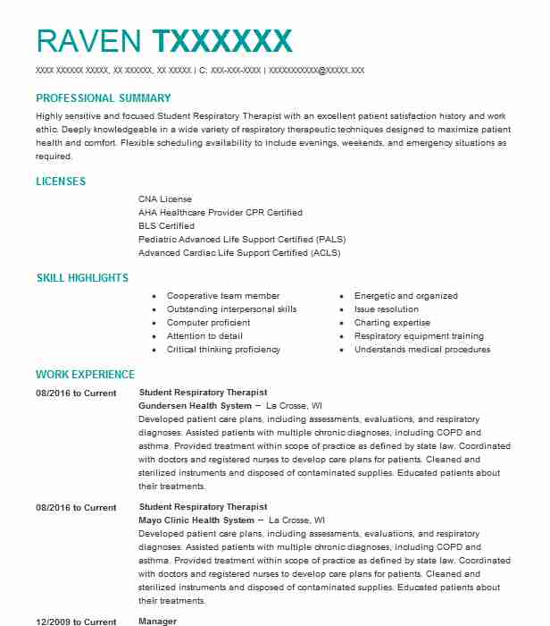 student respiratory therapist resume example livecareer sample of government employee Resume Respiratory Therapist Resume Sample