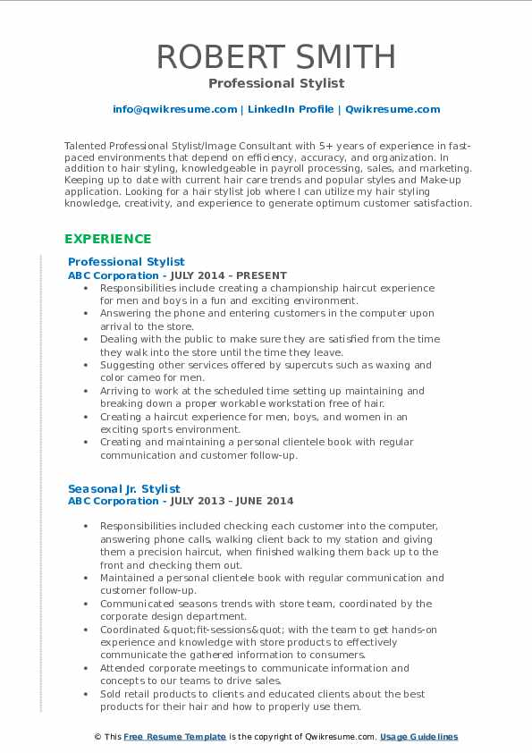 stylist resume samples qwikresume hair summary pdf issues high school template project Resume Hair Stylist Resume Summary
