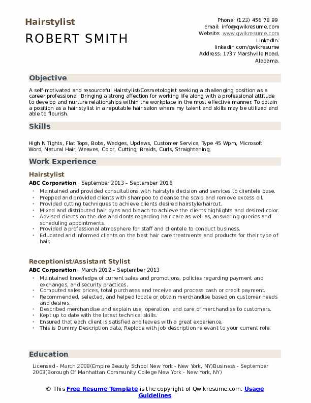 stylist resume samples qwikresume hair summary pdf itsm manager ses ecq example high Resume Hair Stylist Resume Summary